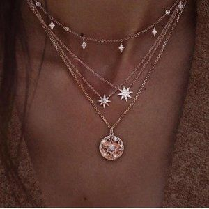 Jewelry - Gold celestial moon and stars choker necklace